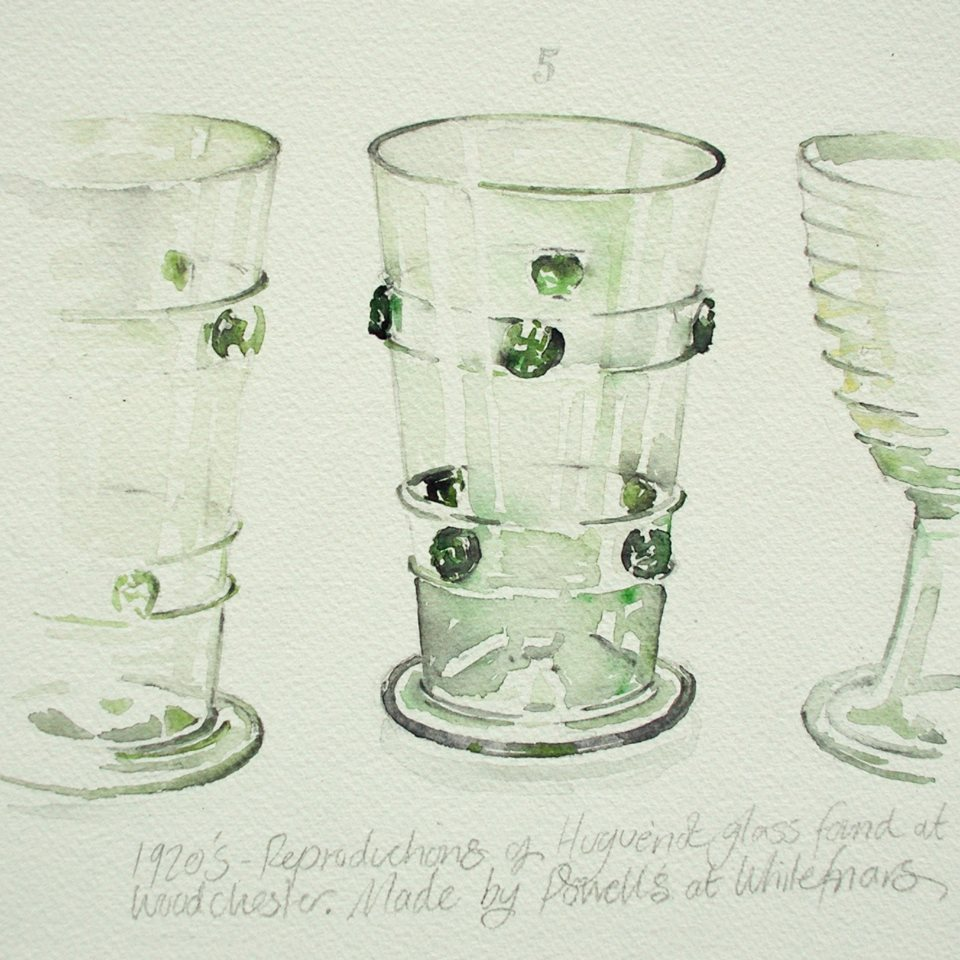 Watercolour sketched from the glass collection