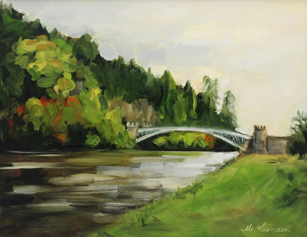 'Autumn Colours, Craigellachie Bridge' (oil on board, 11x14 inches)   I painted this Thomas Telford designed bridge in Craigellachie (Speyside) as a wedding gift for some good friends.  This is the location where the groom popped the question and the Autumn colours reflected the fact that they tied the knot in October.  I am delighted to report that they really love it!