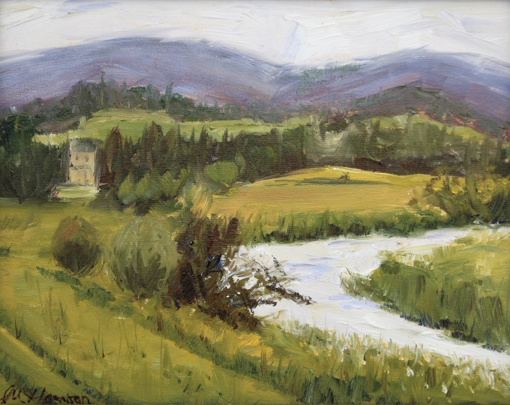 'Monymusk House, by the River Don' (oil on canvas board, 8x10 inches)   This painting was the product of my first ever  plein air  painting expedition, close to where I live and is a scene I think I will find myself coming back to time and time again because it is so beautiful.  This was a gift for my sister's recent special birthday.