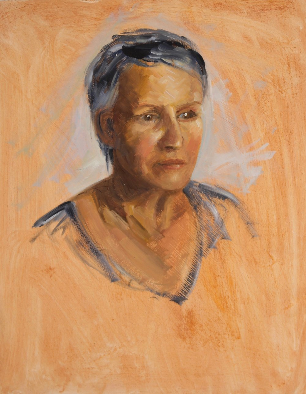 'Portrait of Mum' (oil on panel 14x11 inches)   I painted this picture one evening whilst on an extended family holiday in the South of France for my Mum's birthday.  Beautiful though she is, she wasn't the best model as she chatted, laughed and moved around far too much!!