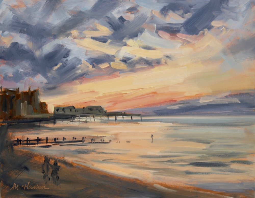 'Sunset on Aberystwyth Seafront' (oil on board, 11x14 inches)   This painting is the product of a recent trip to visit family in Aberystwyth.  I am delighted to say that it will be going to a new home shortly.  I hope the purchaser will enjoy it for many years to come!