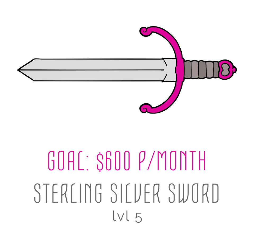 rachael stephen sterling silver sword goal patreon