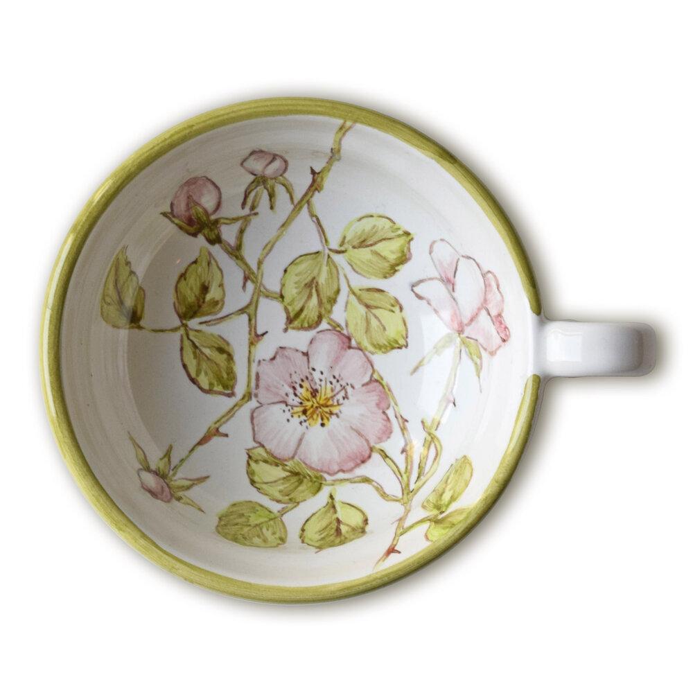Servizio da tè: tazzina con rose canine