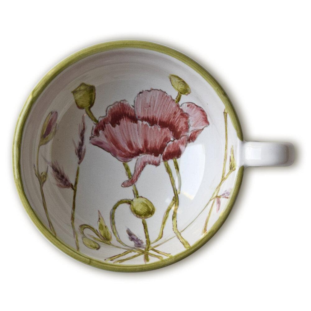 Servizio da tè: tazzina con papavero