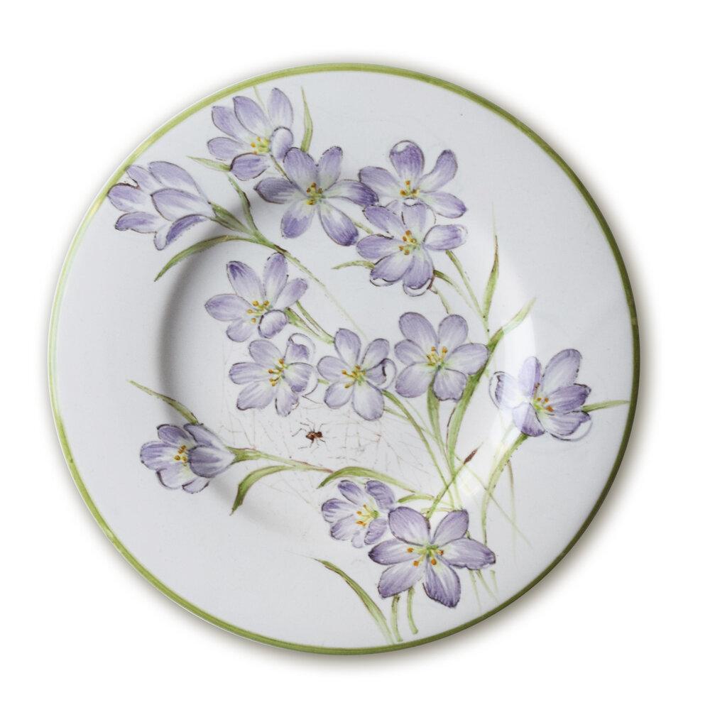 Servizio da tè: Piattino con fiori di croco e ragno
