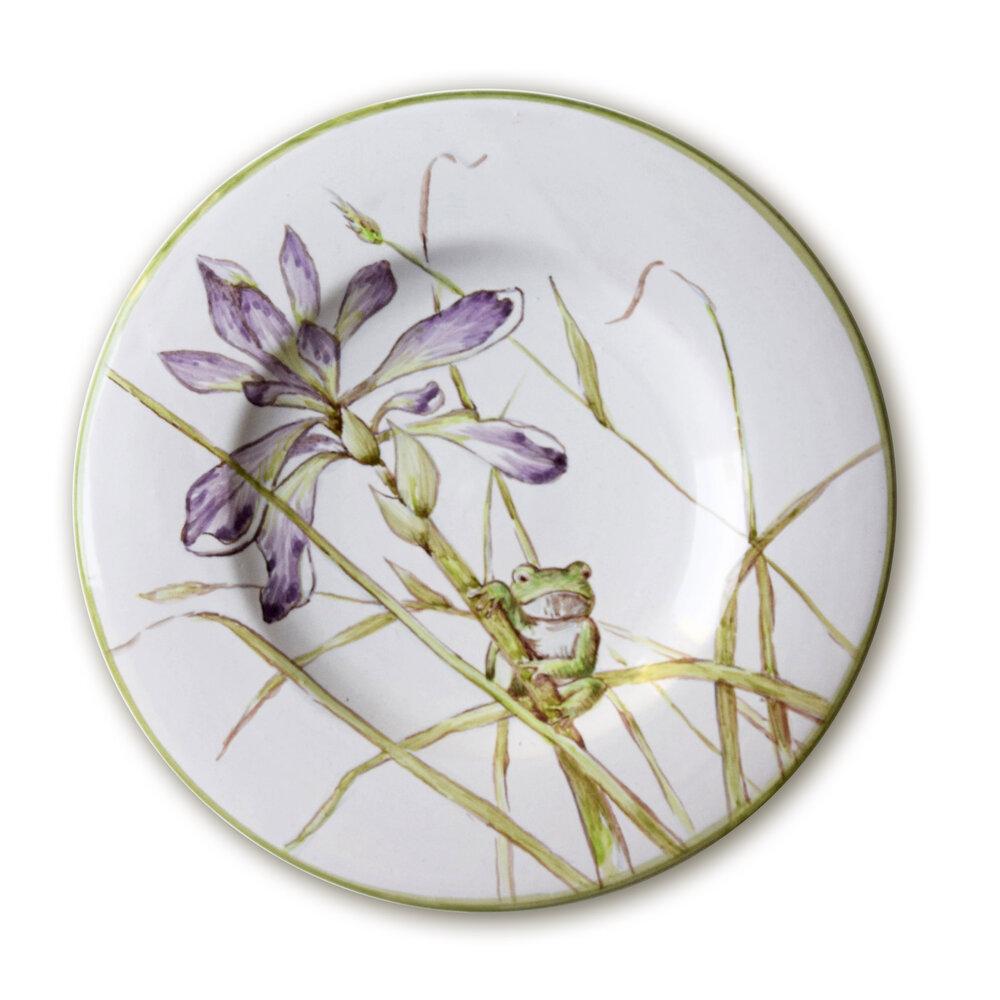 Servizio da tè: Piattino con iris palustre e raganella