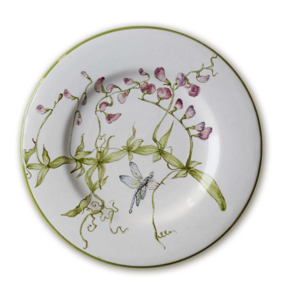 Servizio da tè: Piattino con fiori di pisello selvatico