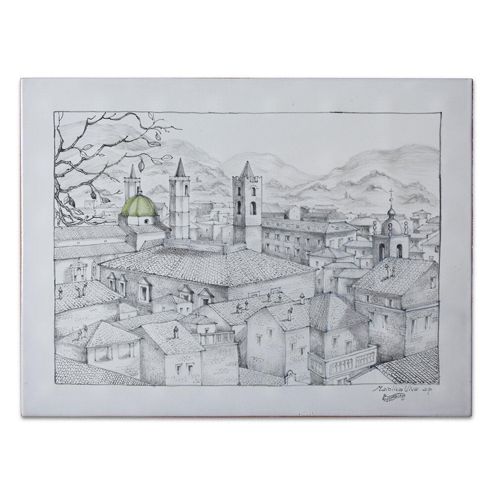 Veduta di Ascoli in grigio
