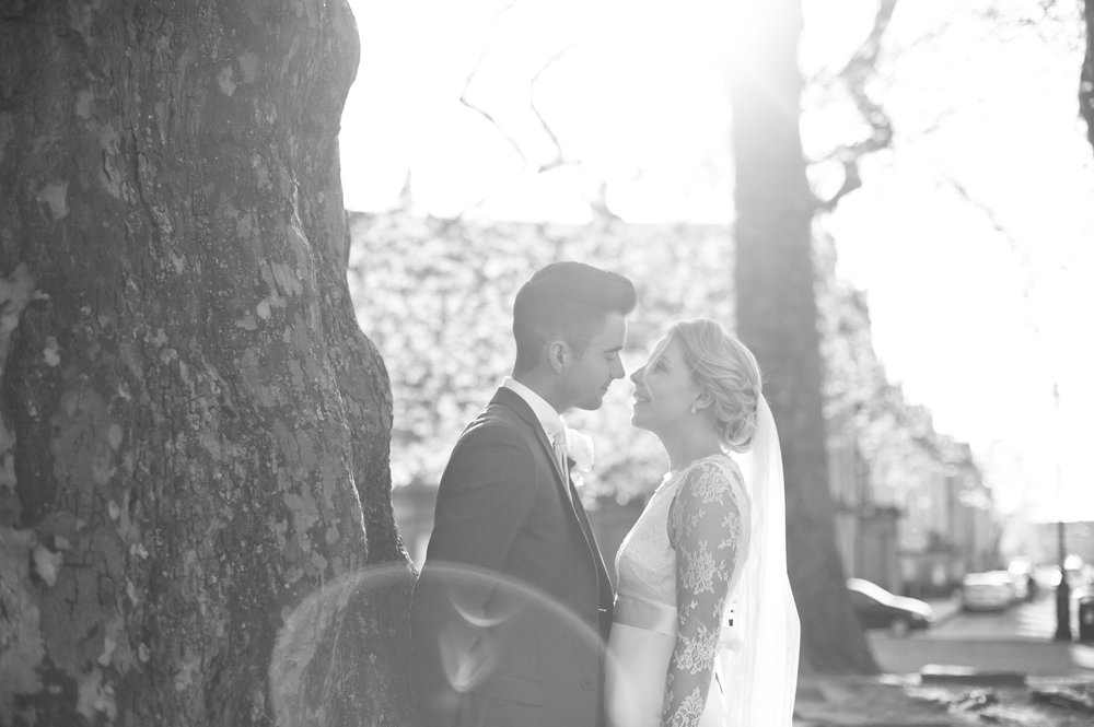 Massive blowout of light in this shot. It was planned though and I think it shows up well in Black and White. Again we're in the Royal Crescent in Bath. Black and White Couple's shot.