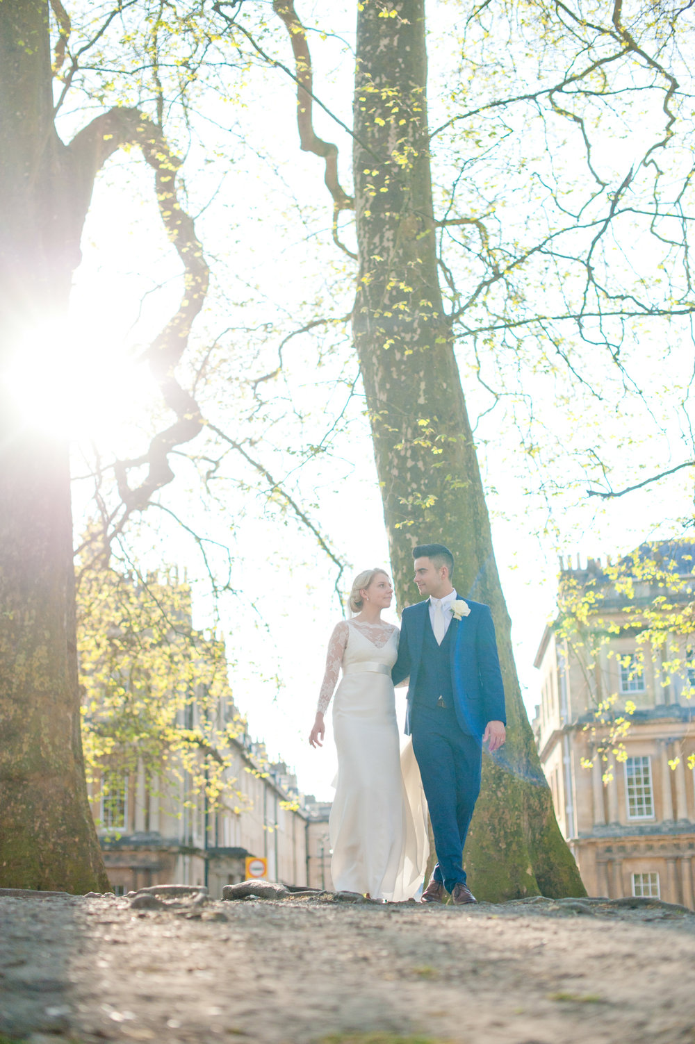 We went to the Royal Crescent to get couple's shots. The sun had dropped some making massive bright blowouts on the photos. They look good if you shoot them right.