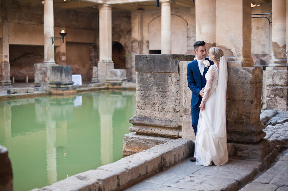 Rosie and Dan at the Baths themselves. I used the columns for the background and to help frame the couple. There's a lot of colour here from the water.