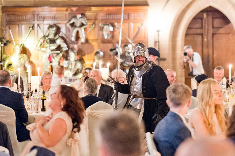 The dueling knights during the wedding breakfast at Warwick Castle.