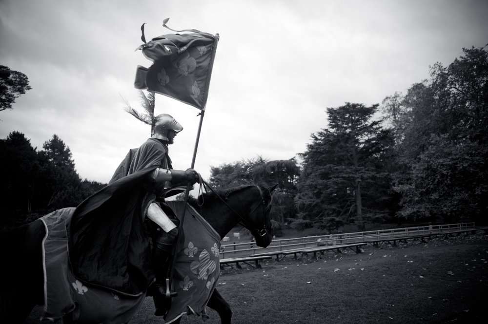 A Warwick castle knight astride his horse. He cut an impressive figure as he led us through to the drinks reception.