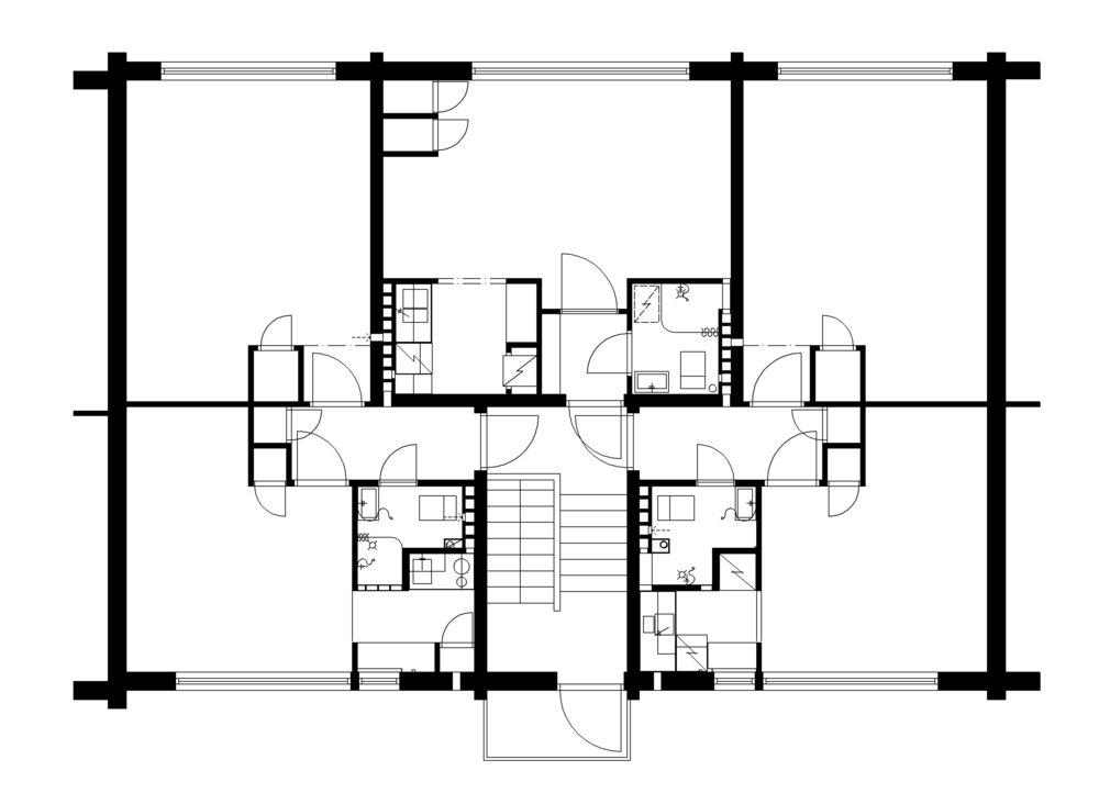 Mäntylän ja Honkalan asuntopohjat putkiremontin jälkeen. © Suunnittelu: Arkkitehtitoimisto Iivanainen & Mustonen / Tapani Mustonen.