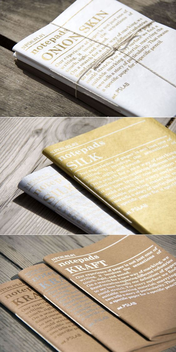 Notepad series. Branding by PSLAB. Our experience of papers is not just one of writing. It involves the sensations of touch, sight and sound..jpg