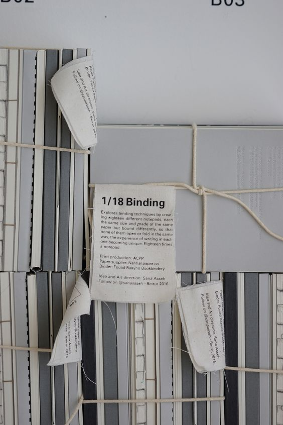 [...]1:18 Binding, explores binding techniques by creating 18 different notepads, each the same size and made of the same paper but bound differently,3.jpg