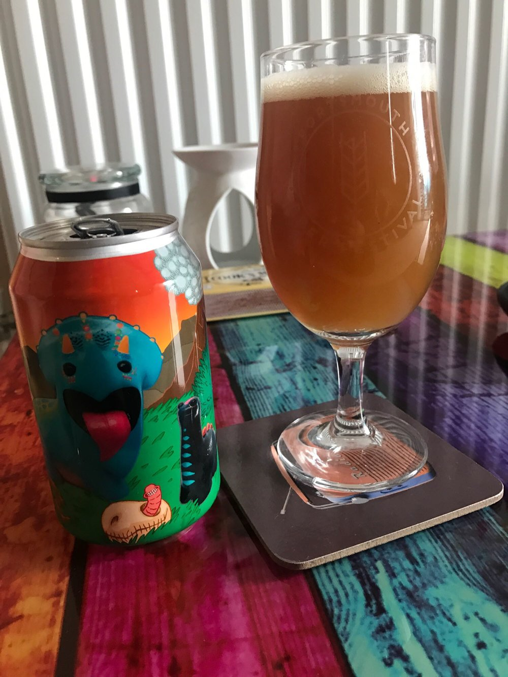JURASSIX -  Double IPA 8%  // Staggeringly Good - This month's Drunk In… has a decidedly Pompey feel so far as my second choice this month comes from another south coast brewery in Jurassix from Staggeringly Good. Brand did a comprehensive write-up of the launch event of this beer and, being a gent, hooked me up with one of the beers from his six-pack. It was worth the wait as this was cracking. Probably the most resinous DIPA I've had, Brand's comparison to the amber fossilized tree resin from Jurassic Park was absolutely spot on. Look at that colour! Slightly envious he has three cans of this excellent beer left. The jammy bastard.