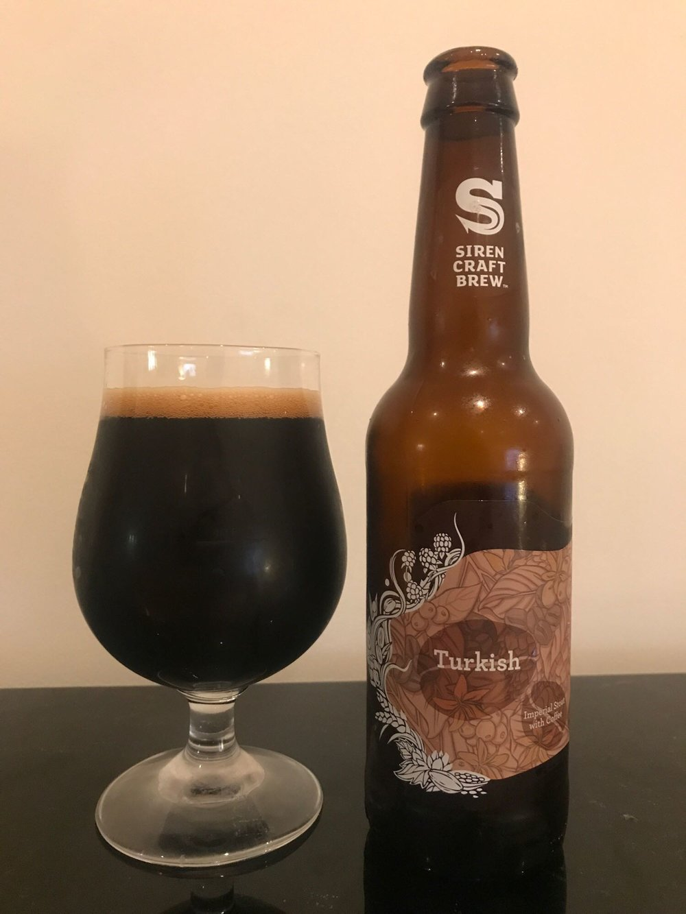 Turkish – 10% Indulgent Imperial Stout with Coffee - What Siren says: Turkish is inspired by the country's robust coffee traditionally served with a piece of rock candy. 45kg of Thai coffee beans, roasted by Reading's Tamp Culture Coffee, are added at three different brewing intervals. The brew also includes the addition of vanilla and orange zest in the spinbot, orange zest and nutmeg in the whirlpool and an incredible 420kg of figs to the fermented beer! The result is lovely smooth spicy notes, a nice citrus sweetness and a sound body.Expectation: Long-time readers of the blog will know that imperial stout is one of my favourite styles of beer. A spicy, citrus, coffee style impy stout has me weak at the knees. I fear it may be a while before I drink this as I have a fair few imperial stouts I need to get through first.Reality: This is bang on. It's exactly what you'd expect from a coffee heavy imperial stout. I didn't really get the citrus notes but the spice came through a little. All in all it is a solid imperial stout and has the right thickness to give it a luxurious taste. Off to a good start. Hope the rest live up to this beginning.