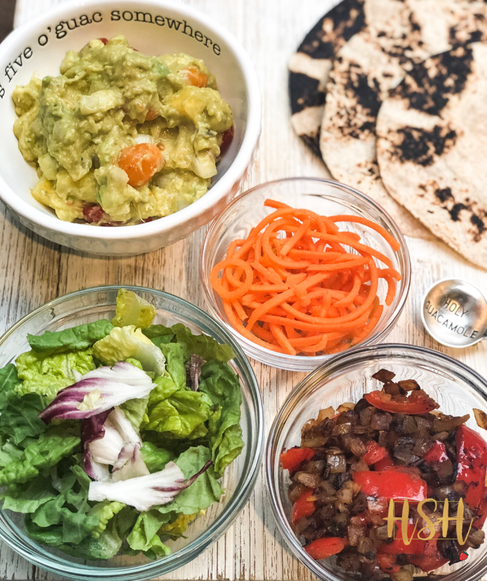 Never dull, never the same. - A great tip to keep your favorite fillings interesting is to play with textures: raw carrots, sautéed onion and peppers & chunky guac- crunchy & soft.