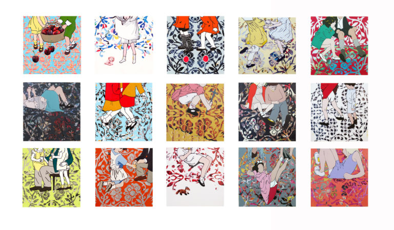 "[Yvette L. Cummings, Voyeur Series , 2015–16, acrylic and cut paper on canvas, 15 panels, 14"" x 14"" each]"