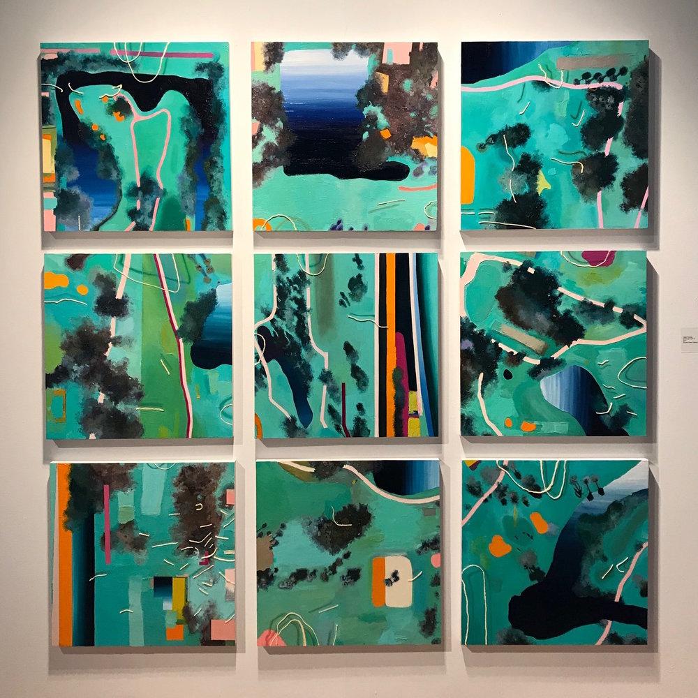"Jena Thomas,  Earth Series #1-9 , 2017, oil and mixed media on panel, 24"" x 24"""