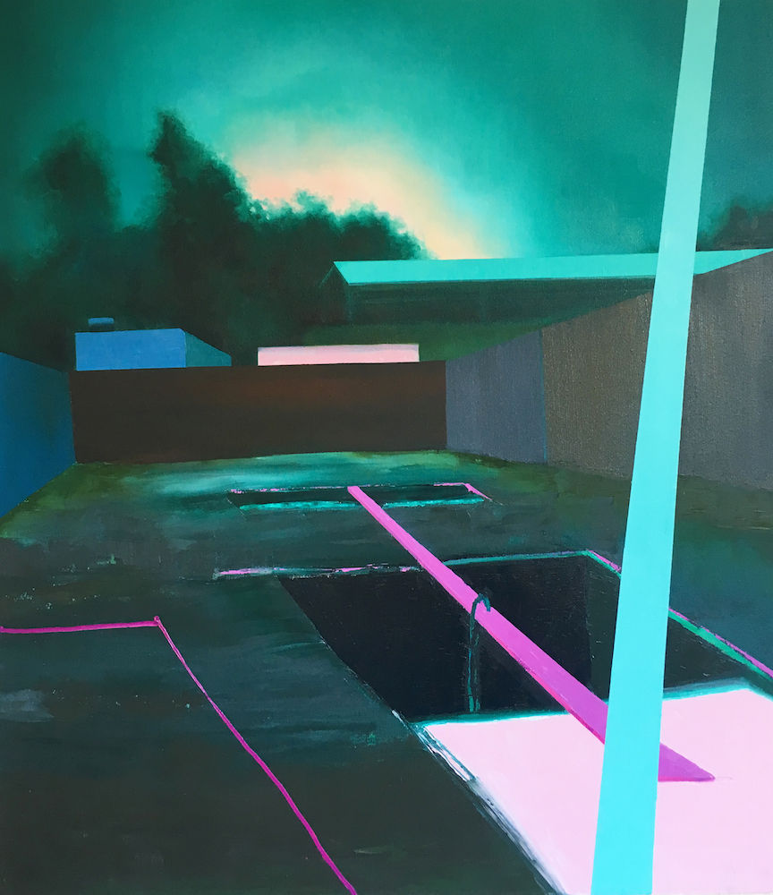 "Jena Thomas, Miami Projects , 2018, oil on canvas, 52"" x 48"""