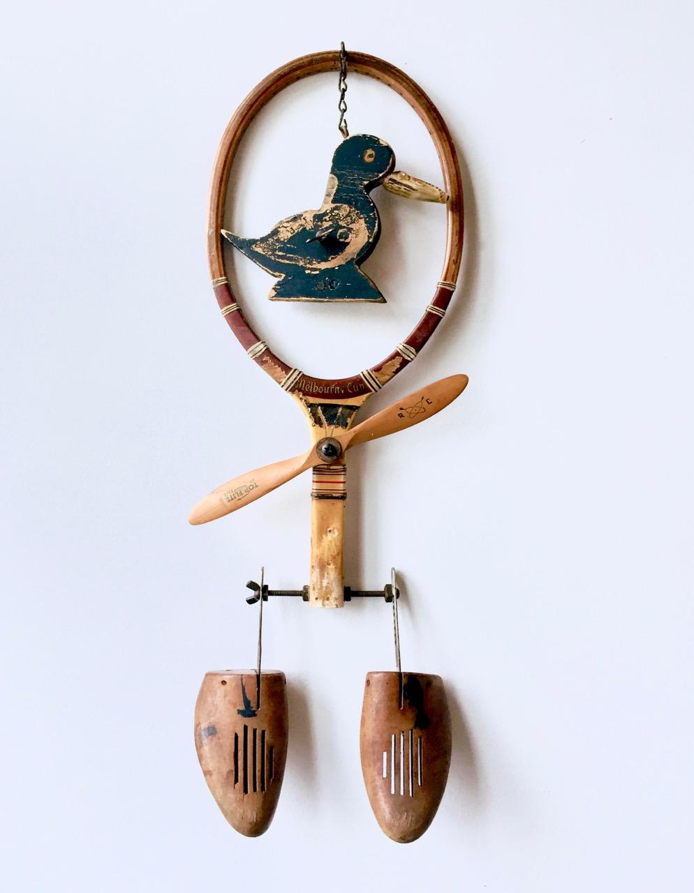 """Birdie , 2017, object assemblage, 25"""" x 12"""" x 3"""""""