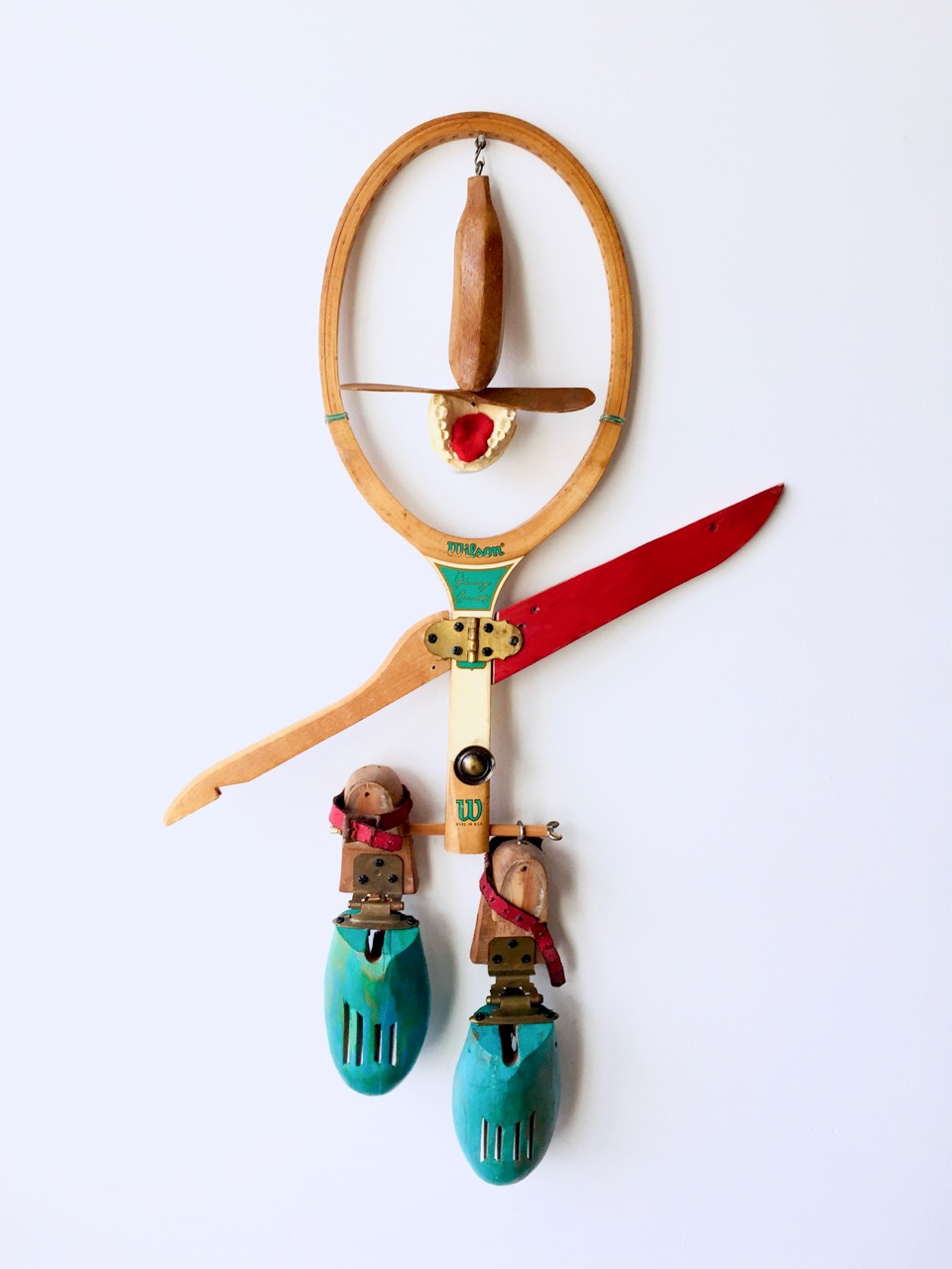 "What a Racket , 2018, object assemblage, 31"" x 20"" x 3"""