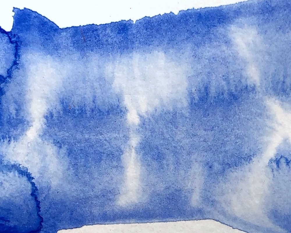 BLUE VELVET - Particles of ultramarine blue pigment attract one another, producing dappled, textural washes.