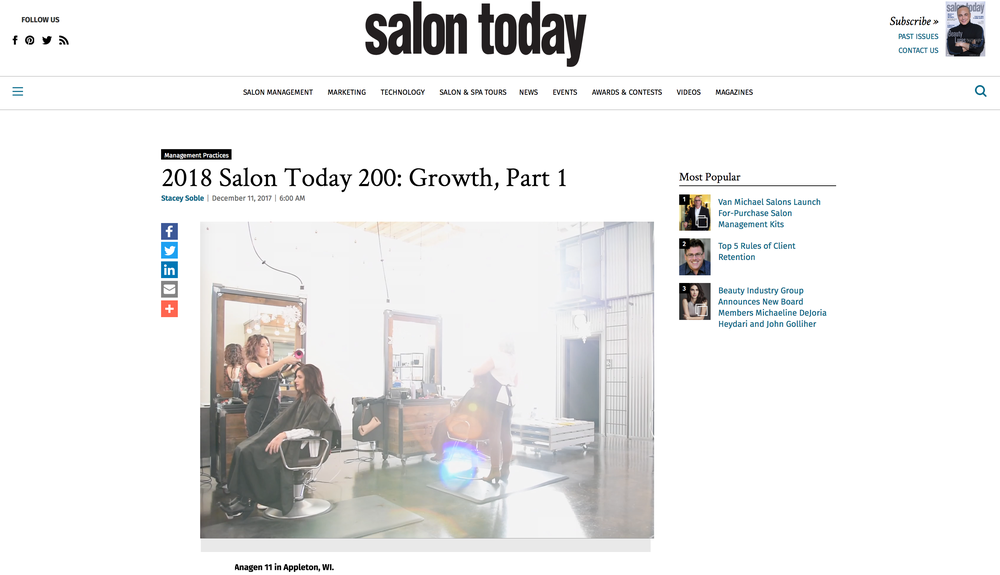 WE ARE HONORED TO BE NAMED A TOP 2OO SALON IN NORTH AMERICA!