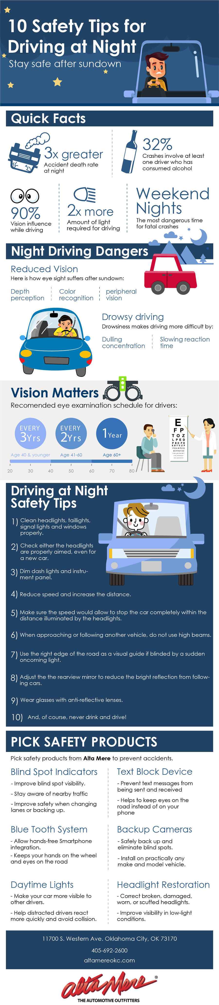 safety tips for driving at night
