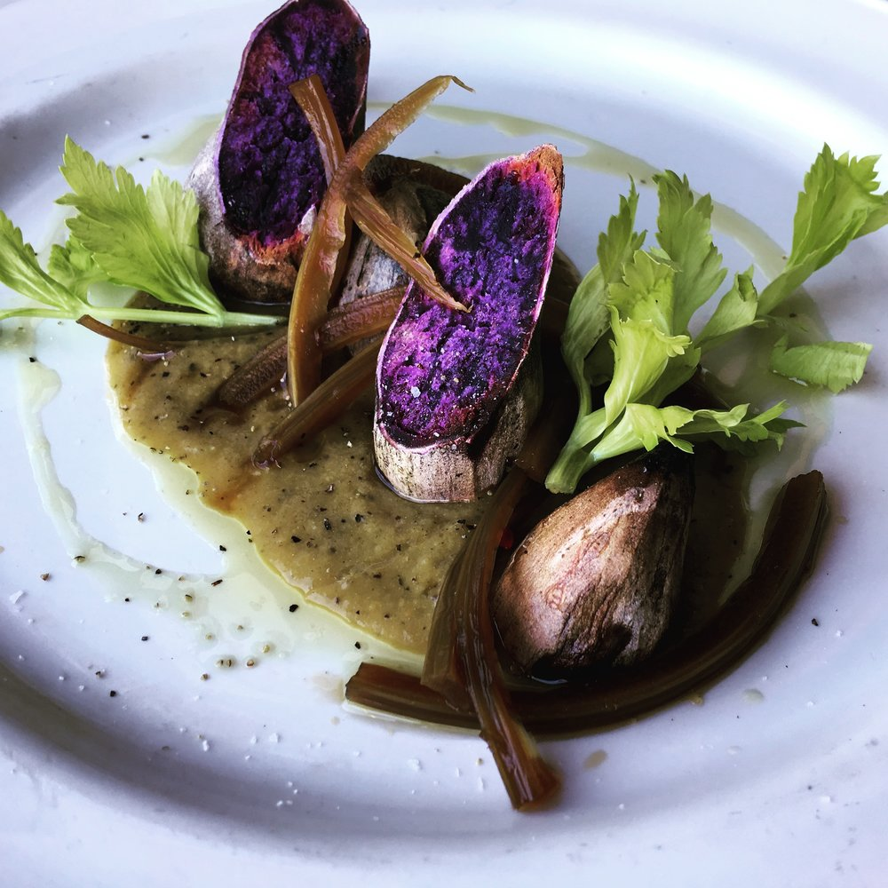 Okinawan sweet potato with miso gravy chef davin waite.JPG