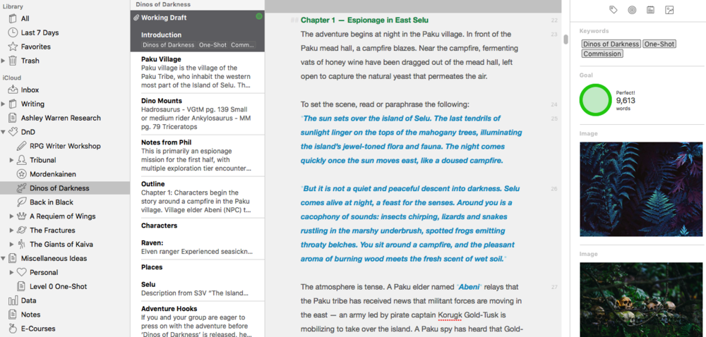 What an in-progress story looks like in Ulysses.