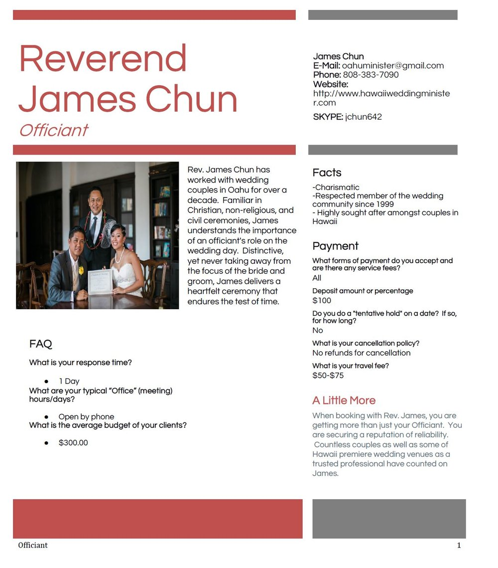 Reverend James Chun — A Perfect Day Hawaii