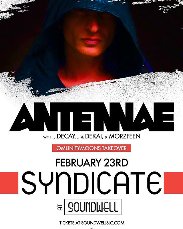 So stoked to be throwing down with the dude @antennaemusic!! Got some special stuff planned for this set. Gonna be another one for the books! One week out!! 💯🔥 Big ups to @syndicate.slc & #Omunitymoons for bringing me on ❤️