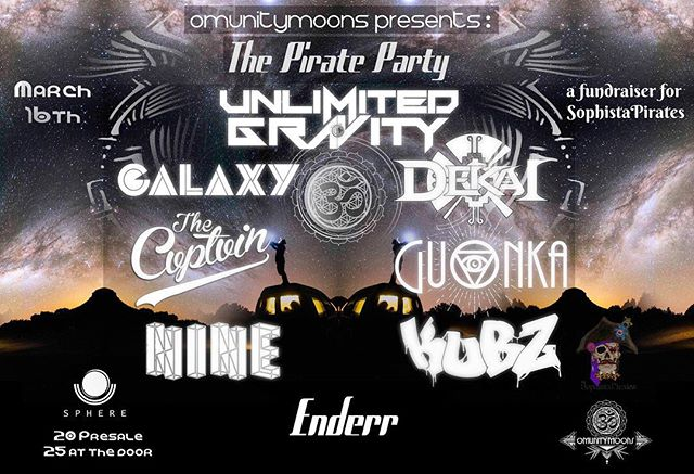 Next Saturday!! So stoked to be playing some tunes with @unlimitedgrvty for the #Omunitymoons #PirateParty, a fundraiser for the @sophistapirates 🏴‍☠️☠️🖤 We've got a stacked ass lineup for this one. Stoked to throw down with all the homies and see everyone! Let's get it! 🔥 @sphereslc @omni_light #UnlimitedGravity #SophistaPirates #DEKAI #saltlakecity #bassmusic #electronicmusic #utah #edmutah