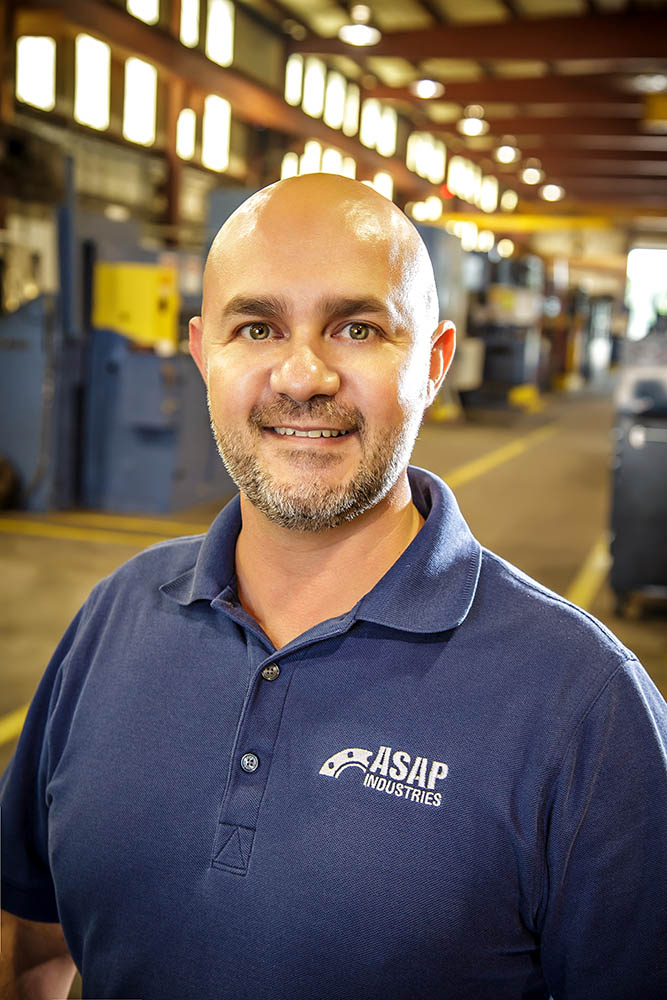 Randy Price - Chief operating officer   Randy Price joined ASAP Industries in January 2004 as a manual lathe operator. He continued his growth with the company holding various positions including Machinist Trainer, Machine Shop Foreman, Production Coordinator and Inside Sales Representative.  In 2013 Randy was promoted to Sales Administration Manager responsible for Inside Sales, Quotations & Applications Engineering, Customer Service and Contract Management.  Randy began his career in 1996 upon graduation from Louisiana Technical College where he earned a Machinist Trade Degree. He was employed by Cajun Cutters and Preferred Industries for 8 years as a manual machinist. Opportunity presented itself in early 2004 with ASAP Industries and Randy became one of its few manual lathe operators at the time.  He continued to progress thru various capacities driven by his dedication, knowledge and hands on experience which he uses today to communicate effectively with customers, vendors, and employees to provide complex custom solutions to challenges throughout the production process.  .