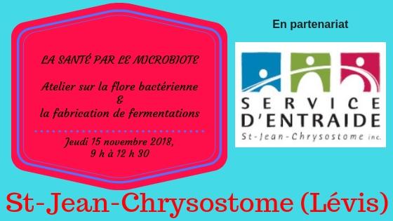 banniere entraide stjean chrysostome - jeudi 15 novembre 2018 - Atelier sur la flore bacterienne et fabrication de fermentations (1).jpg