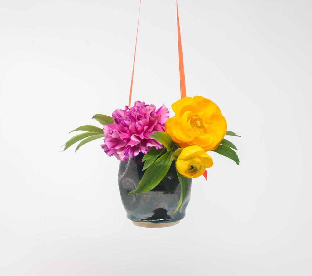 green gloss flower vase