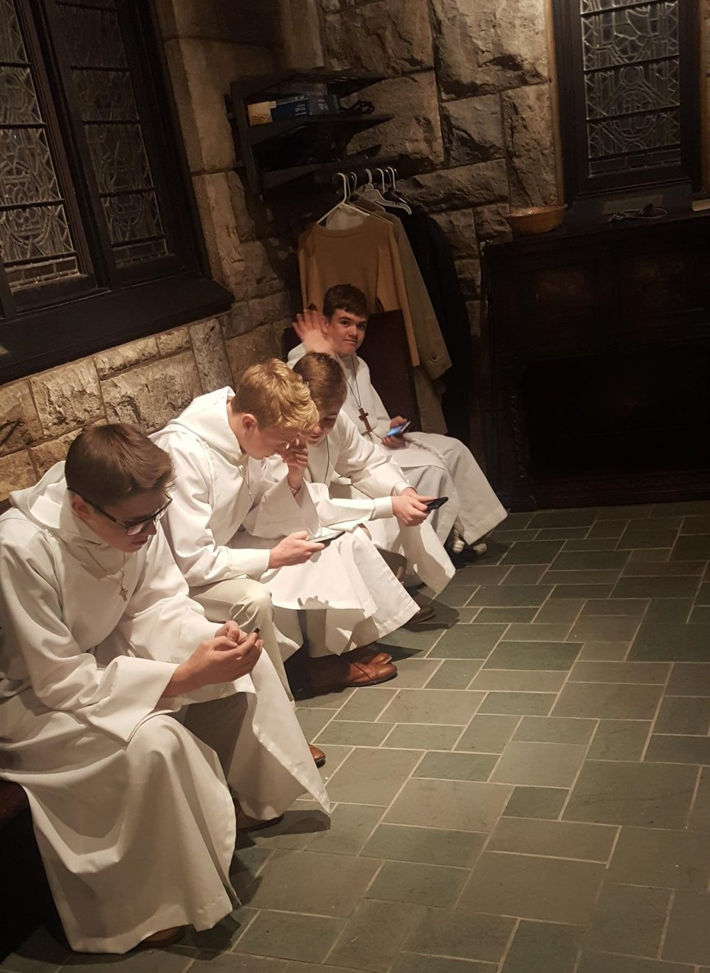 Acolytes in deep meditation…