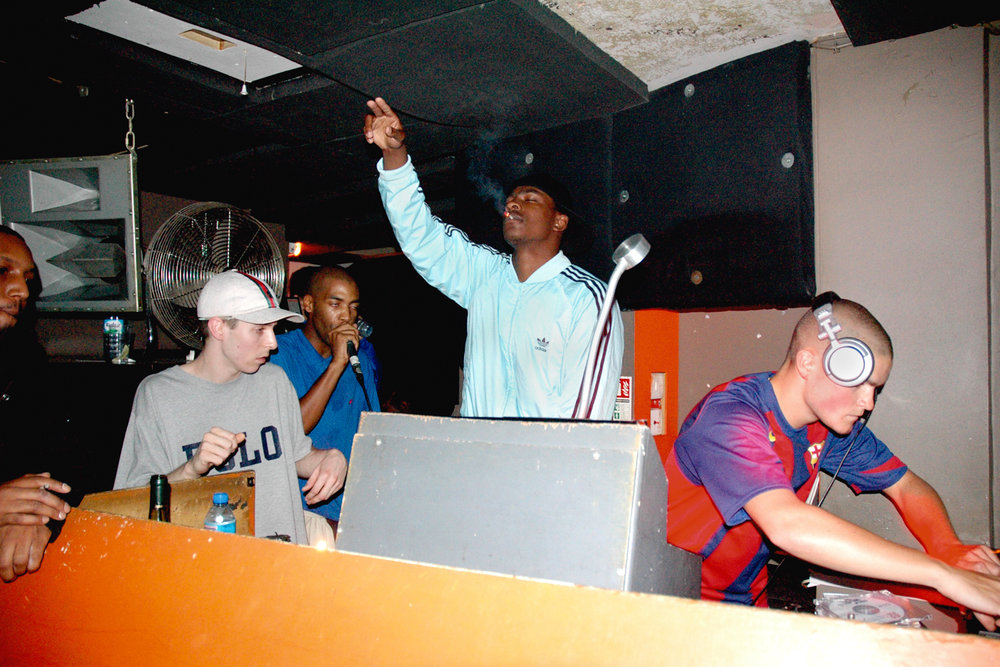 MC Dangerous (SLT Mob), Youngster, Crazy D, Skepta, Youngsta, Plastician. FWD>> at Plastic People, London 2005. ©Georgina Cook