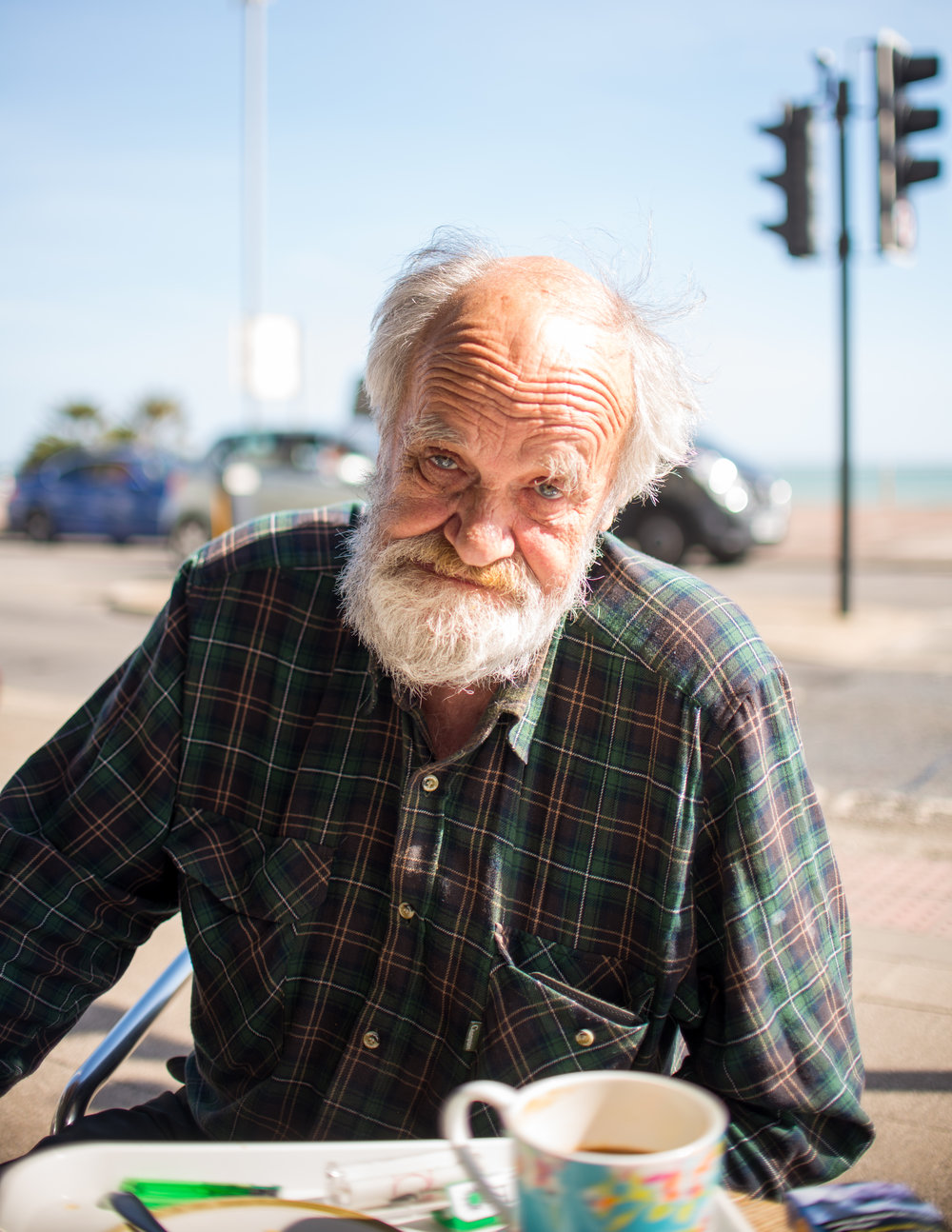 Hastings Portraits: John, outside Kassa Cafe