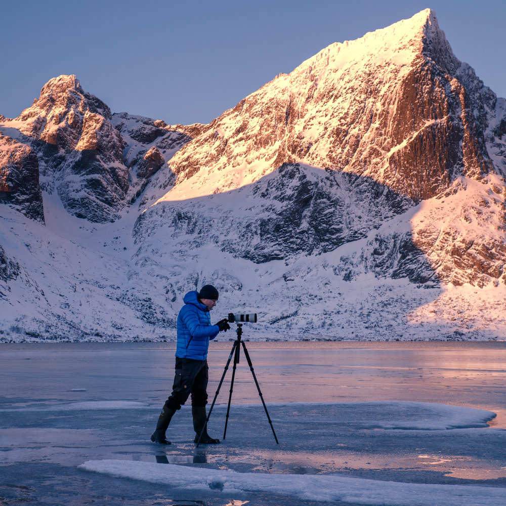 Once you start shooting in more extreme conditions reliability becomes an increasingly important factor (sunrise shoot on a frozen fjord at Lofoten Islands, Norway) - image by Mikkel Beiter