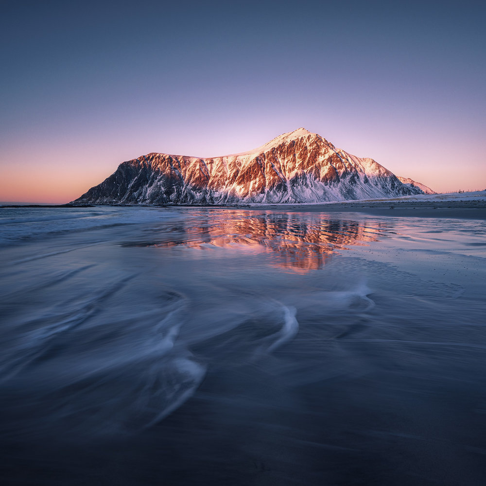 soft light in the arctic: Skagsanden beach at Lofoten Islands, Norway