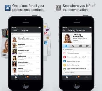 LinkedIn Contacts iPhone App views