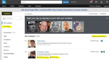 View from my LinkedIn Contacts dashboard with all the new features highlighted