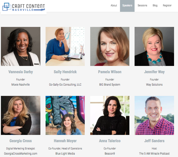 Craft Content Nashville Speakers