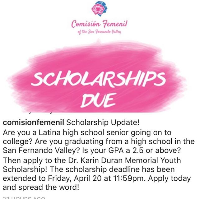 We at @comisionfemenil spend the year making sure money is raised for Valley graduating womxn - apply! Tell us your special chingonx story