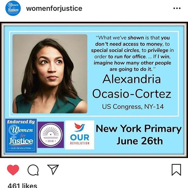Yeah down with #themachine congrats @ocasio2018 inspiration is a beautiful thing