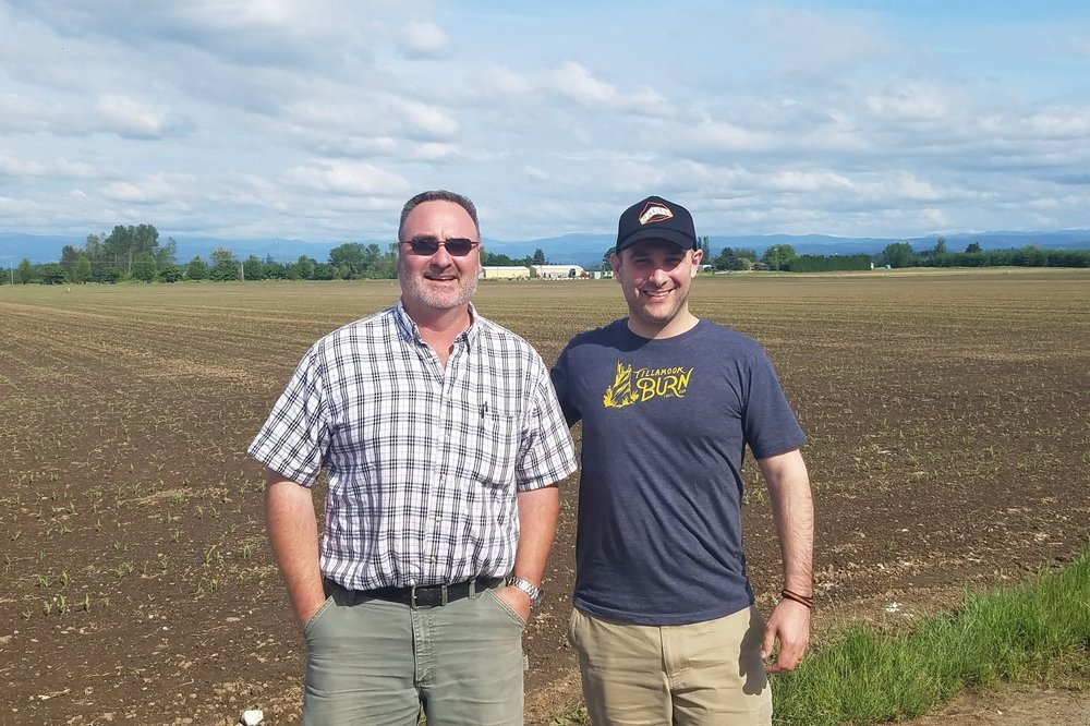 Founder Jason (right) with farmer Pete (left)